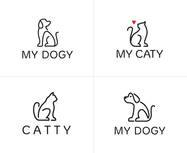 犬と猫の線形ロゴデザインテンプレートのセット