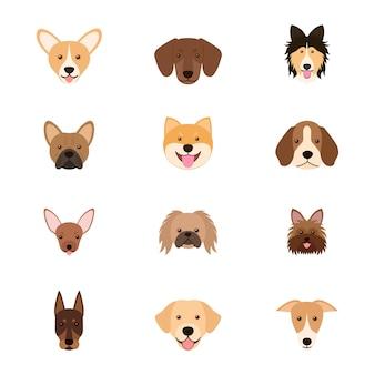 犬の頭のセット、ベクトルイラスト