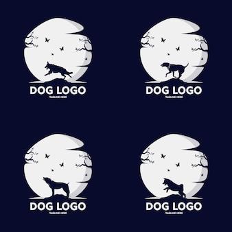 犬のシルエットのロゴデザインのセット