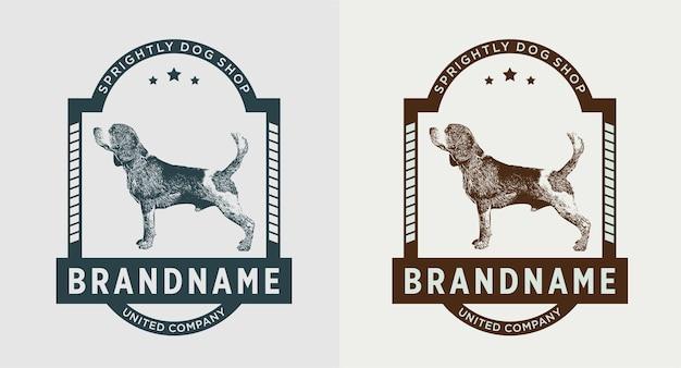 Набор старинных логотипа собаки
