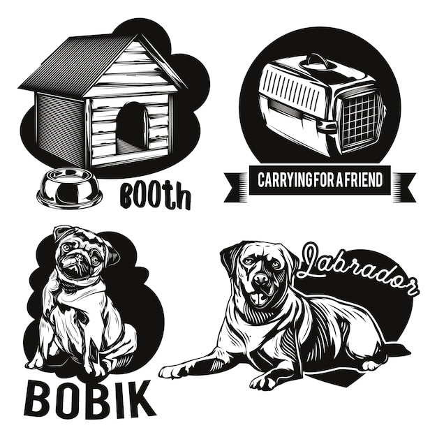 개와 동물 주택 엠블럼 세트