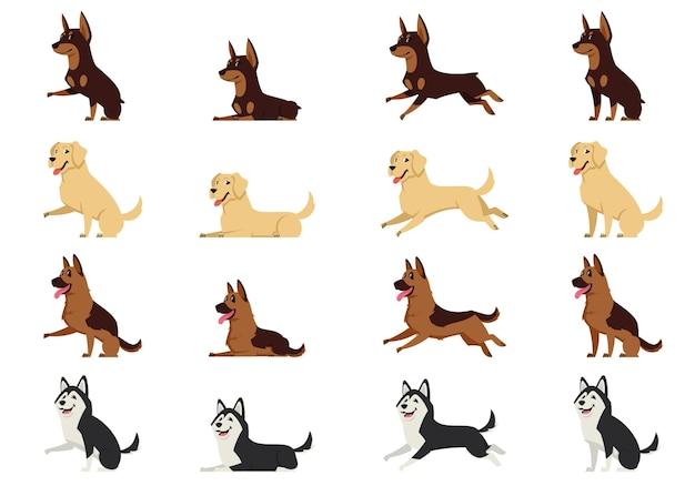 さまざまなポーズの犬のセット。ドーベルマン、ラブラドール、ジャーマン シェパード、ハスキーの漫画風。