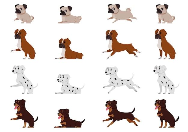さまざまなポーズの犬のセット。漫画風のパグ、ボクサー犬、ダルメシアン、ロットワイラー。