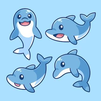 돌고래 만화 캐릭터 세트