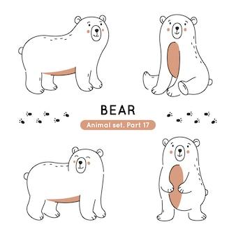 Набор каракули медведей в различных позах изолированы
