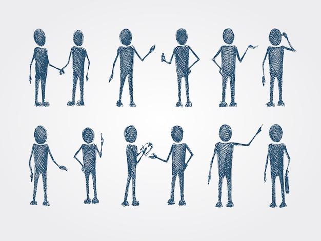 Набор каракули бизнес людей сотрудничества