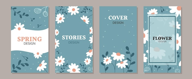 落書きデイジーの花のセットソーシャルメディアの投稿とストーリープロモーションコンテンツバナーテンプレート