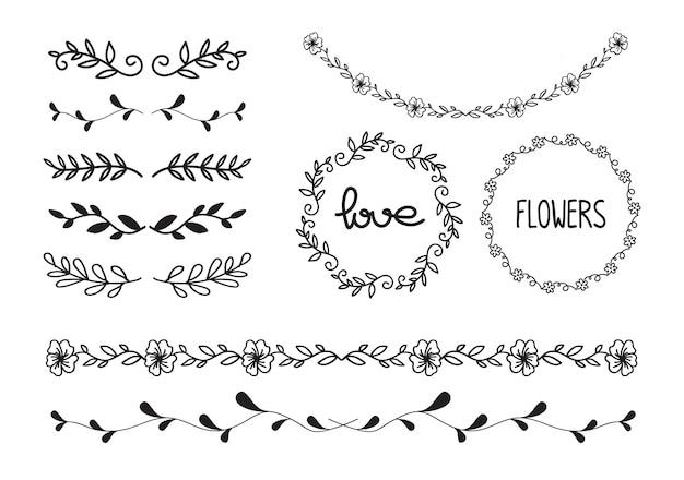 낙서 꽃, 선 및 잎 원형 프레임 벡터의 집합