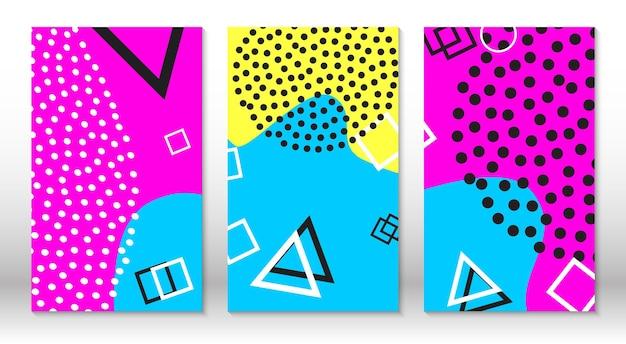 Набор шаблонов весело каракули. хипстерский стиль 80-90-х годов. элементы мемфиса. жидкие розовые, синие, желтые цвета.