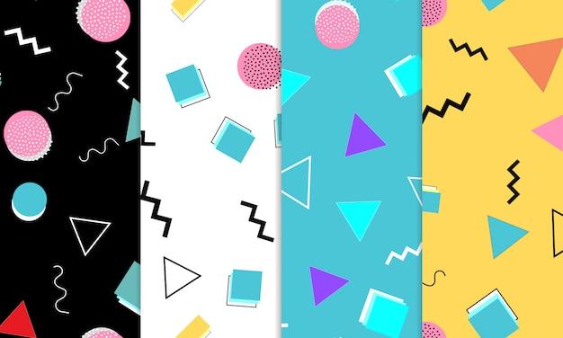 落書き楽しいシームレスパターンのセットです。夏の落書きの背景。シームレスな90年代。メンフィスパターン。図。 80年代から90年代のヒップスタースタイル。抽象的なカラフルなファンキーな背景。
