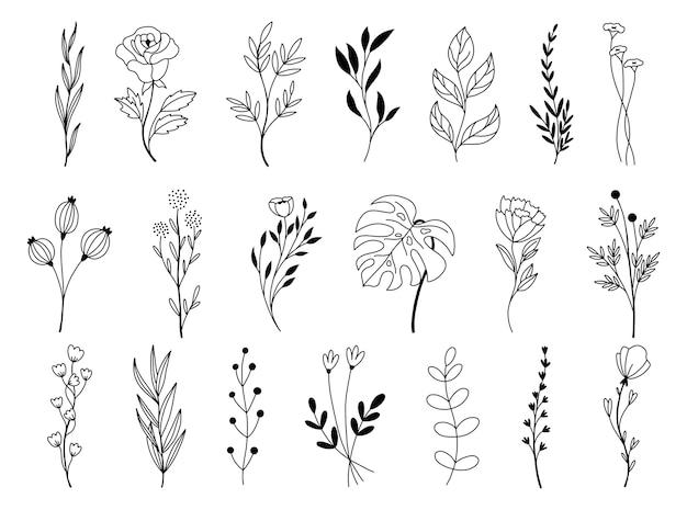 落書き手描き花要素のセット