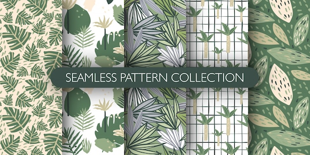Набор каракули джунглей экзотических листьев бесшовные модели. симпатичные тропические листья бесконечные обои. ботаническая векторная иллюстрация