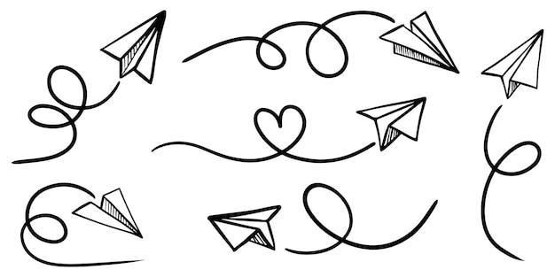 落書き紙飛行機アイコンのセットです。手描きの紙飛行機。ベクトルイラスト。