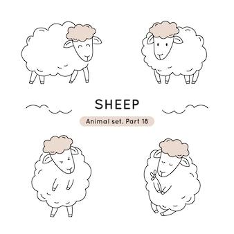 分離された様々なポーズで落書き羊のセット