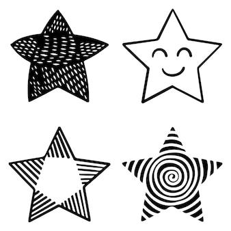 배경, 포스터, 인쇄, 배너, 웹 및 컨셉 디자인을 위해 격리된 낙서 별 만화 삽화 세트. 벡터 일러스트 레이 션.