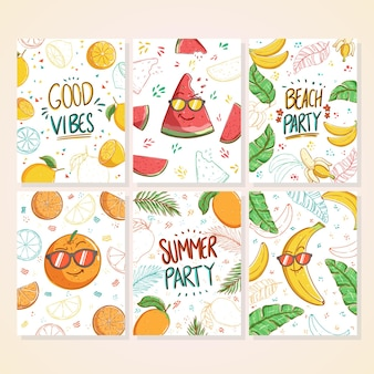 낙서 여름 카드 세트 레몬 수박 바나나 망고 만화와 손으로 쓴 텍스트와 아름다운 여름 포스터