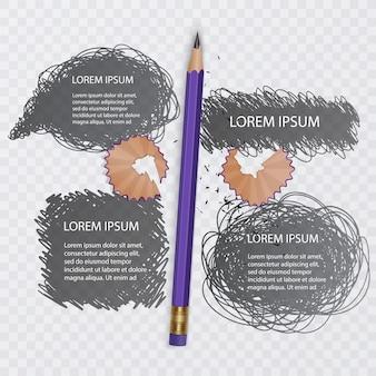 落書きのセット、落書きコレクション。灰色のスケッチとリアルな鉛筆。図
