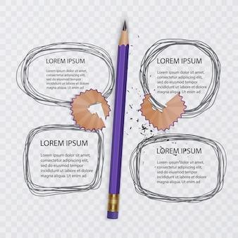 낙서, 낙서 컬렉션의 집합입니다. 회색 색상의 스케치와 현실적인 연필. 삽화