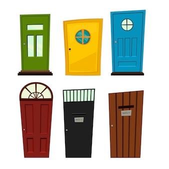 建設のための白い背景の上のドアのセットと。漫画のスタイル。図。
