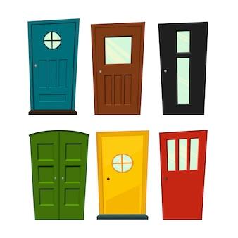 Набор дверей на белом фоне для строительства и дизайна. мультяшный стиль иллюстрации.