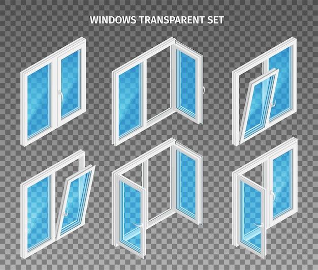 Комплект двух- и трехстворчатых пластиковых окон с открытыми и закрытыми створками.