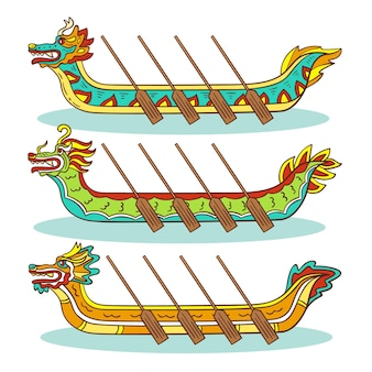 ドラゴンボートとパドルの手描きのセット