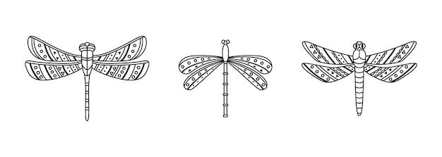 自由奔放に生きるスタイルのトンボのセット。幾何学的な部族の概要図。