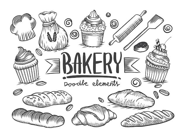 드로잉 베이커리 테마의 집합입니다. 케이크, 파이, 빵 및 패스트리 컬렉션. 빵집. 벡터 흑백 스케치 그림 흰색 배경에 고립