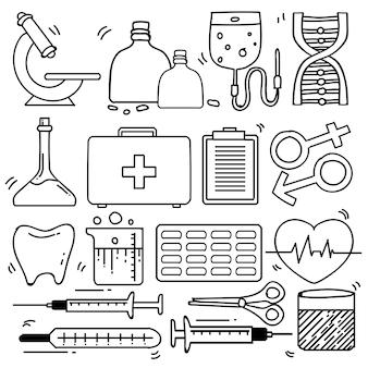 격리 된 흰색 배경에서 드로잉 의료 테마 낙서 컬렉션의 집합