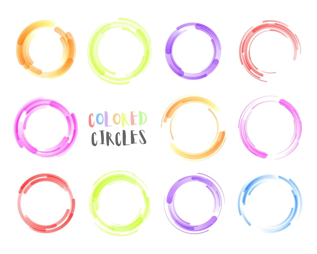 Набор нарисованных от руки с использованием каракули линии круга, рисования эскиза карандаша или ручки граффити