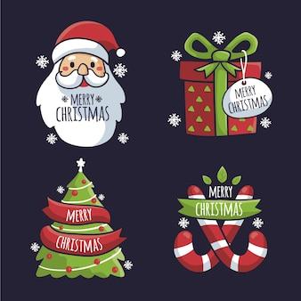 그린 된 크리스마스 배지 세트