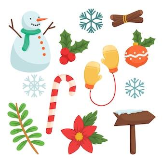 描かれたクリスマス要素のセット