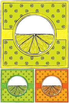 描かれた柑橘類のラベルのセット