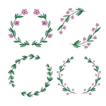 그린 된 꽃 프레임 세트