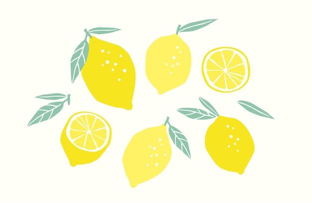 Набор нарисованных лимонов. цитрусовые, лимоны, лаймы. иллюстрация. изолированные элементы дизайна