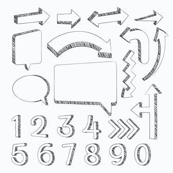 Набор нарисованных школьных инфографических элементов