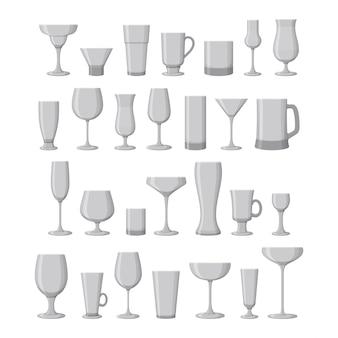 와인, 마티니, 샴페인, 맥주 및 기타 음료 안경 세트. 삽화.