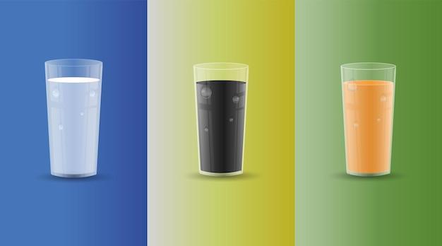 Набор напитков в прозрачных стеклах с каплями и тенями. сок, молоко, кола. векторные иллюстрации.