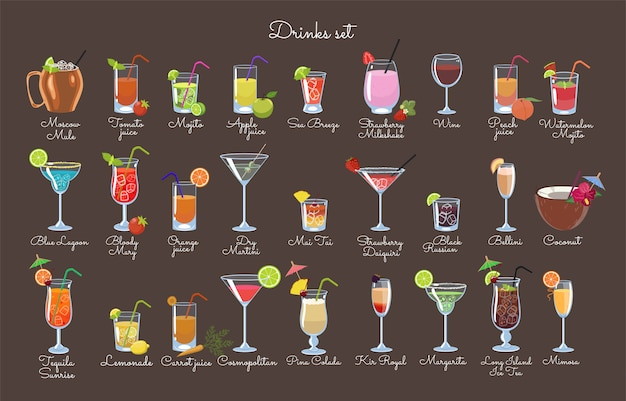 Набор напитков на коричневом фоне. векторная графика.