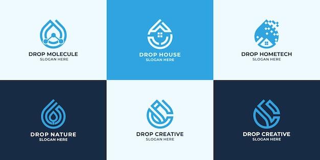 Набор дизайна логотипа капли, комбинированный логотип