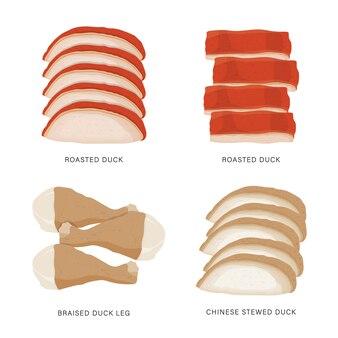 Комплект еды куска утки изолированной на белой предпосылке. мультфильм иллюстрация