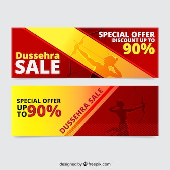 Set of dussehra banners with great discounts
