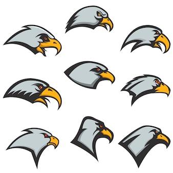 Набор иконок головы орла на белом фоне. элементы для, этикетки, эмблемы. иллюстрации.