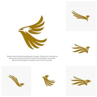 Набор орел логотип вектор