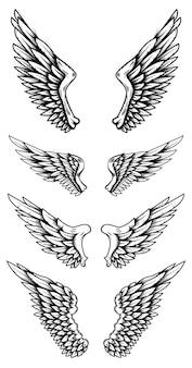 Набор крыльев орла в стиле тату. элементы дизайна для логотипа, этикетки, знака, плаката, футболки. векторная иллюстрация