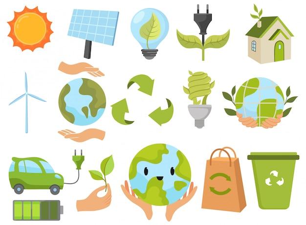 Набор день земли. сборник защиты природных ресурсов от вредных выбросов.