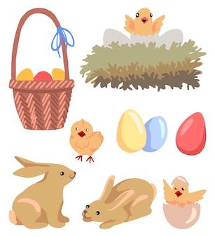 白で隔離のイースター動物のセットです。かわいいひよこ、ウサギ、バスケット、卵、巣の絵。手描きのベクトルイラスト。色付きの漫画の落書き。デザイン、ポストカード、プリント、ステッカー、装飾用。