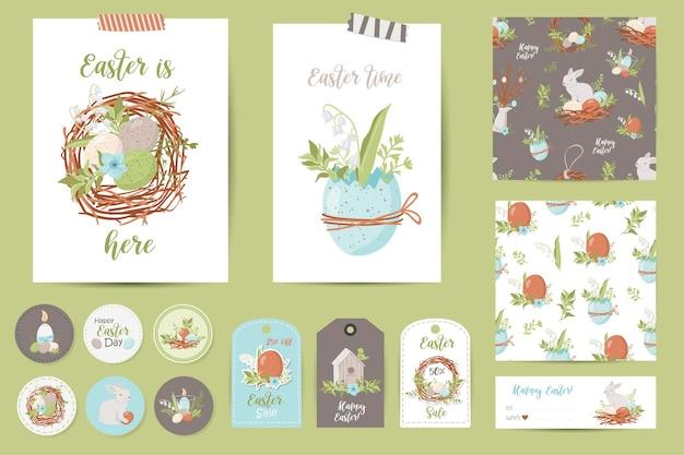 부활절 카드, 메모, 스티커, 라벨, 우표, 태그의 집합입니다. 인쇄 가능한 카드 템플릿