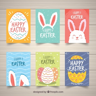 Set of easter day cards in hand drawn style