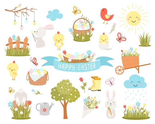 부활절 디자인 요소의 집합입니다. 부활절 만화 캐릭터와 꽃 요소. 휴일 장식 및 봄 인사말. 토끼, 닭, 계란, 꽃. 삽화.